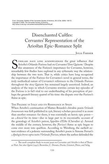 Disenchanted Castles: Cervantes' Representation of the ... - H-Net