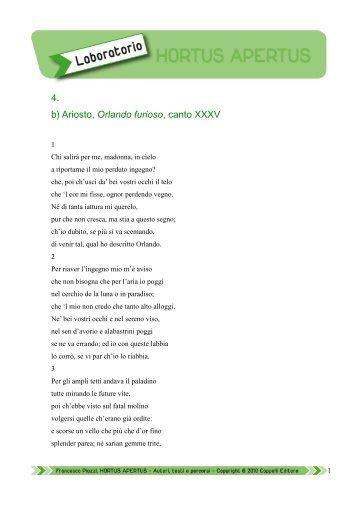 4. b) Ariosto, Orlando furioso, canto XXXV - Edu.lascuola.it