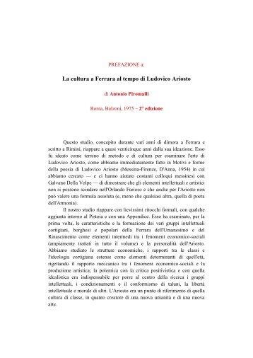 La cultura a Ferrara al tempo di Ludovico Ariosto - Antonio Piromalli