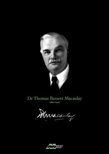 Dr Thomas Bassett Macaulay - The Macaulay Land Use Research ...