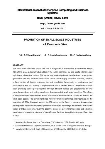 PROMOTION OF SMALL SCALE INDUSTRIES - International ...