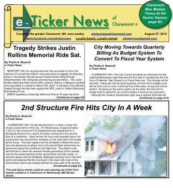 August 27, 2012, Section A - e-Ticker News of Claremont, NH