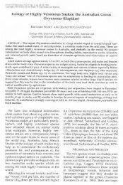 Ecology of Highly Venomous Snakes - The University of Sydney