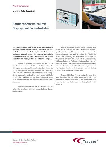 Bordrechnerterminal mit Display und Folientastatur - Trapeze