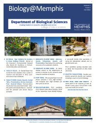 Department of Biological Sciences Newsletter - University of Memphis