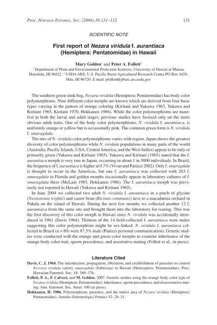 First report of Nezara viridula f. aurantiaca - ScholarSpace ...