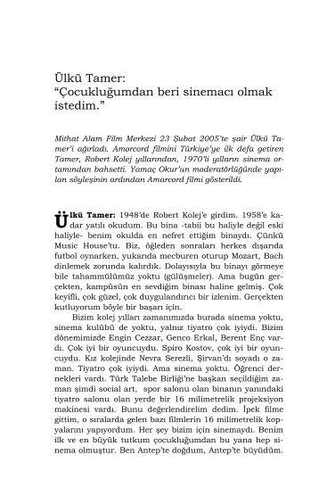 Ülkü Tamer - Mithat Alam Film Merkezi - Boğaziçi Üniversitesi