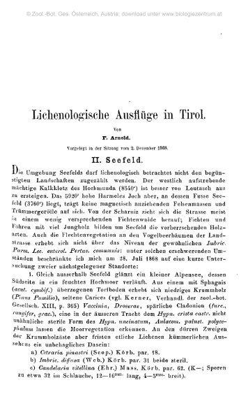 Liclienologische Ausflüge in Tirol.