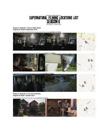 Locations List Season 6 - Supernatural Locations DOT Com