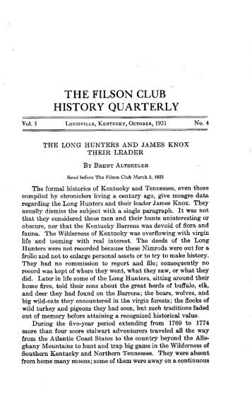 the filson club history quarterly - The Filson Historical Society