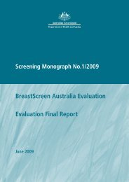 Cover, Contents, (PDF 150 KB) - Cancer Screening website