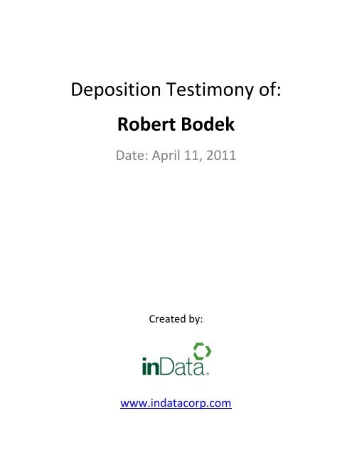 Deposition Testimony of: Robert Bodek - Broadcast Interactive Media