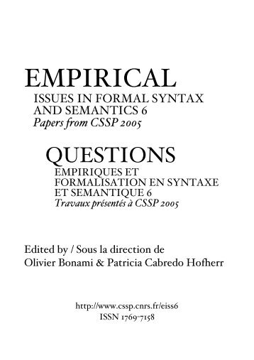 empirical - issues in formal syntax and semantics 6 - CSSP - CNRS
