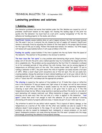 Laminating problems and solutions