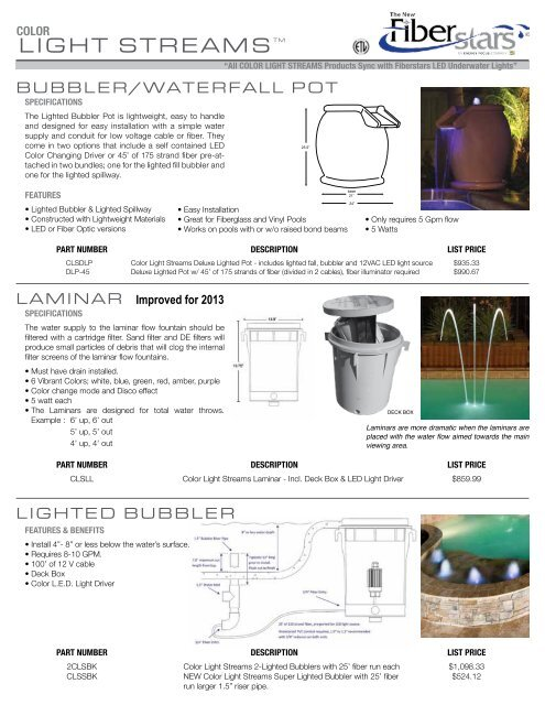 Color Light Streams Builder Spec Sheet Fiberstars Pool And Spa
