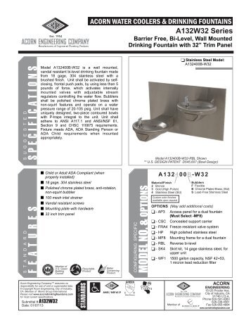 Model A132400B-FRA4-W32 Submittal - Acorn Engineering