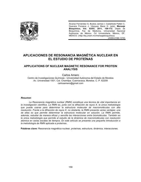 Aplicaciones De Resonancia Magnética Nuclear En El Unam
