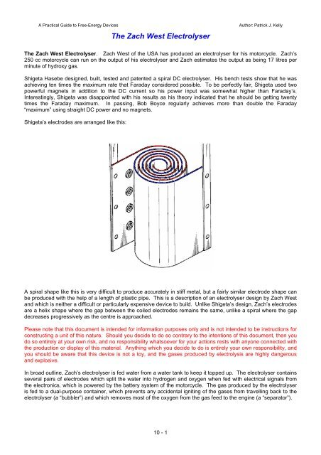 Free Energy Devices >> Zach West S Electrolyser Free Energy Devices