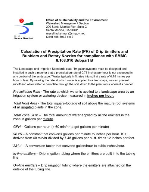 Calculation of Precipitation Rate (PR) of Drip Emitters and