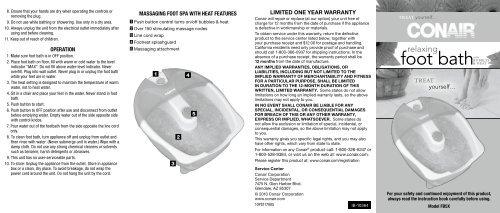 Instruction Booklet - Foot Bath with Bubbles & Heat [FB5X] - Conair