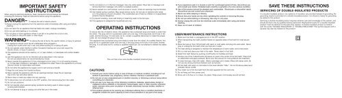 OPERATING INSTRUCTIONS IMPORTANT SAFETY ... - Conair