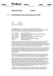 Verslag informatiebijeenkomst Amersfoort West 27 april 2011 - ProRail