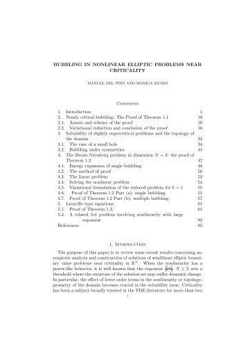 BUBBLING IN NONLINEAR ELLIPTIC PROBLEMS NEAR ... - CAPDE