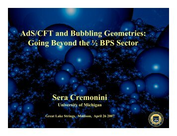 AdS/CFT and Bubbling Geometries - University of Wisconsin ...
