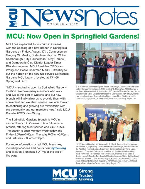 MCU: Now Open in Springfield Gardens! - Municipal Credit Union