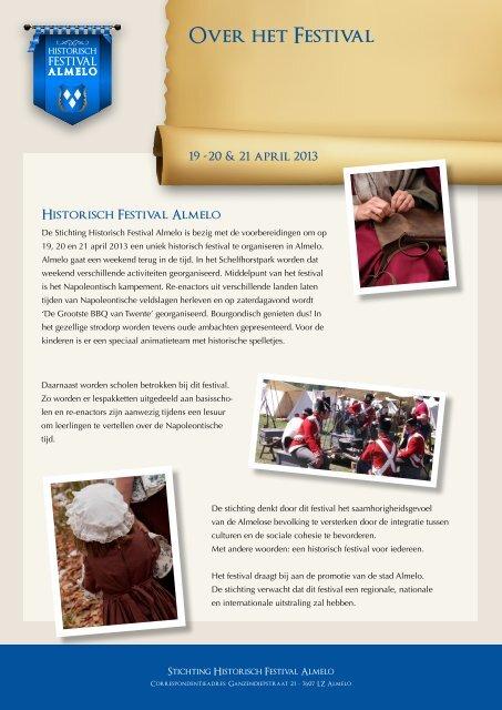 brochure voor Sponsor Pakketten - Historisch Festival Almelo