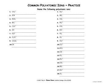 Polyatomic Ion Worksheet Free Download