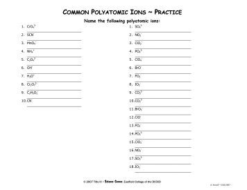 Printables Polyatomic Ions Worksheet worksheet 12 polyatomic ions 3p common practice eastfield college