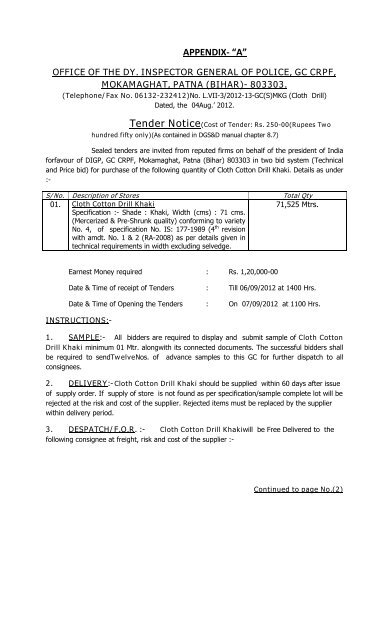 Tender for Purchase of Cloth Cotton Drill Khaki - Central
