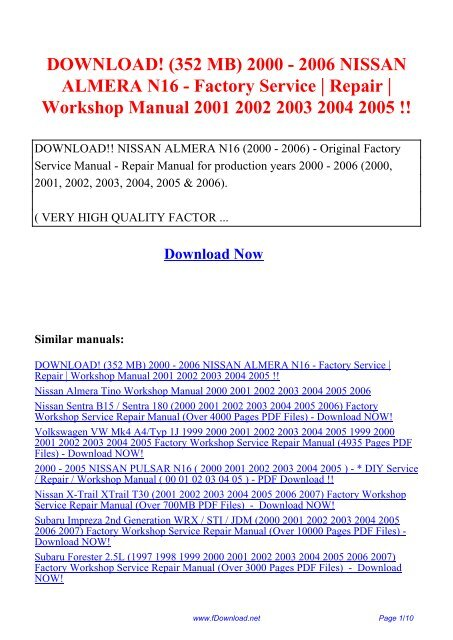 PDF SUBARU FORESTER 2003 2004 2005 2006 2007 WORKSHOP SERVICE MANUAL