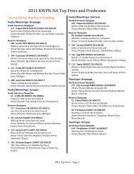 2011 KWPN-NA Top Fives and Predicates