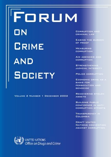 Forum on Crime and Society, Volume 2, Number 1 - United Nations ...