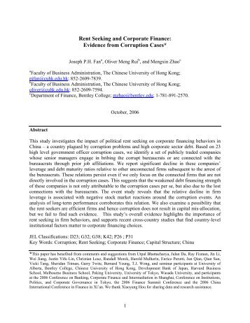 Rent Seeking and Corporate Finance: Evidence from Corruption Cases ...