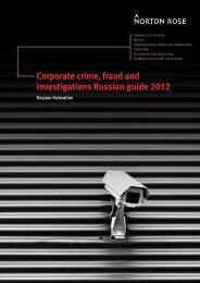 Corporate crime, fraud and investigations Russian ... - Norton Rose