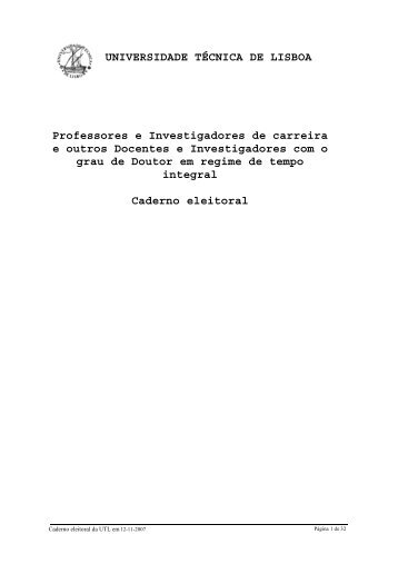 UNIVERSIDADE TÉCNICA DE LISBOA Professores e ...