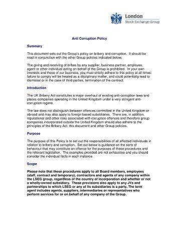 lseg anti corruption policy london stock exchange