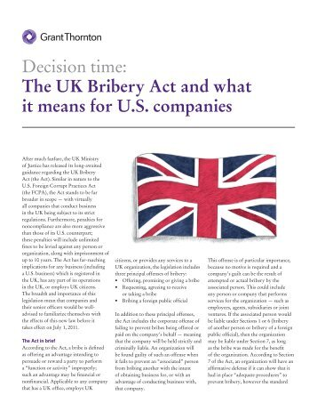 The UK Bribery Act and what it means for US companies