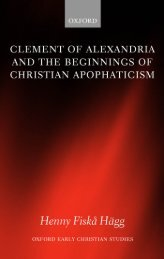 Clement of Alexandria and the Beginnings of Christian Apophaticism