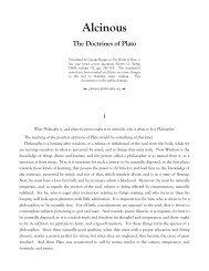 Alcinous The Doctrines of Plato - Platonic Philosophy