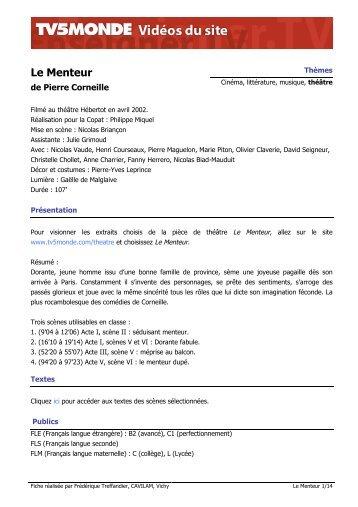 """Télécharger la fiche pédagogique """"Le Menteur"""" (pdf) - TV5 Monde"""
