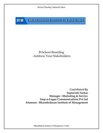 B-School Branding - Bharathidasan Institute of Management