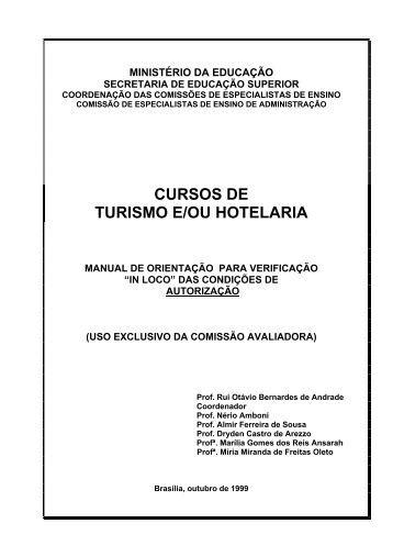 CURSOS DE TURISMO E/OU HOTELARIA - Ministério da Educação