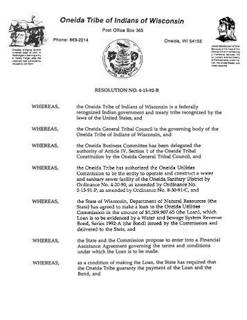 WHEREAS, WHEREAS, - The Oneida Nation of Wisconsin