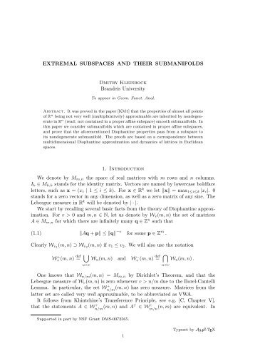 EXTREMAL SUBSPACES AND THEIR SUBMANIFOLDS Dmitry ...