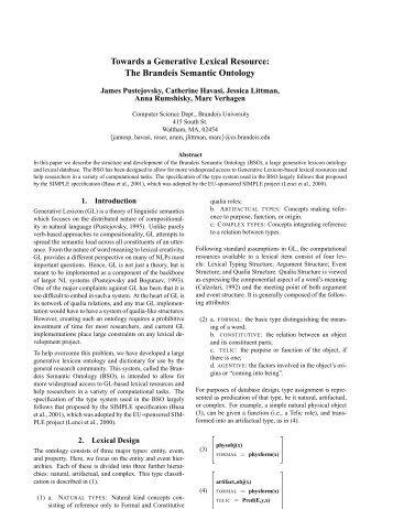Towards a Generative Lexical Resource: The Brandeis ... - CiteSeerX