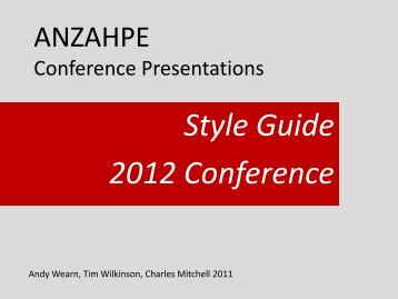 Style Guide 2012 Conference